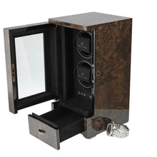 Load image into Gallery viewer, Watch Winder for 2 Automatic Watches Dark Burl Wood Finish the Tower Series by Aevitas