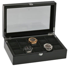 Load image into Gallery viewer, Piano Black Fibre Watch Collectors Box for 10 Wrist watches by Aevitas