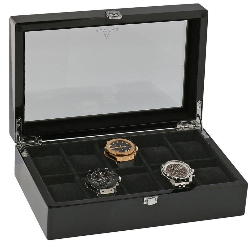Piano Black Fibre Watch Collectors Box for 10 Wrist watches by Aevitas