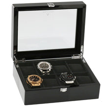Load image into Gallery viewer, Piano Black Wooden Watch Collectors Box for 8 Watches by Aevitas
