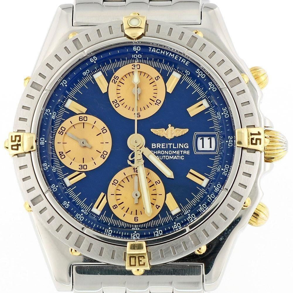 Breitling Chronomat B13352 18K Gold & Stainless Steel with Blue Dial 40mm Case