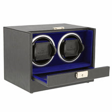 Load image into Gallery viewer, Black Genuine Leather Dual Watch Winder - Slide Away Door - Royal Blue Velvet Lining by Aevitas