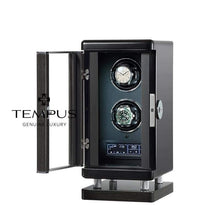 Load image into Gallery viewer, Tempus Watch Winder for 2 Watches Piano Black Finish with Finger Print Access
