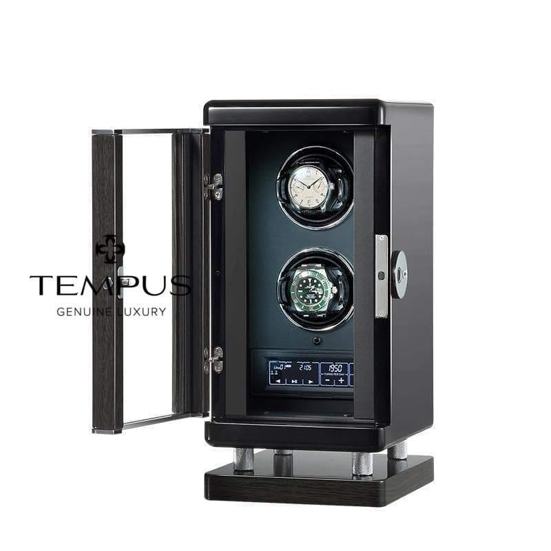 Tempus Watch Winder for 2 Watches Piano Black Finish with Finger Print Access