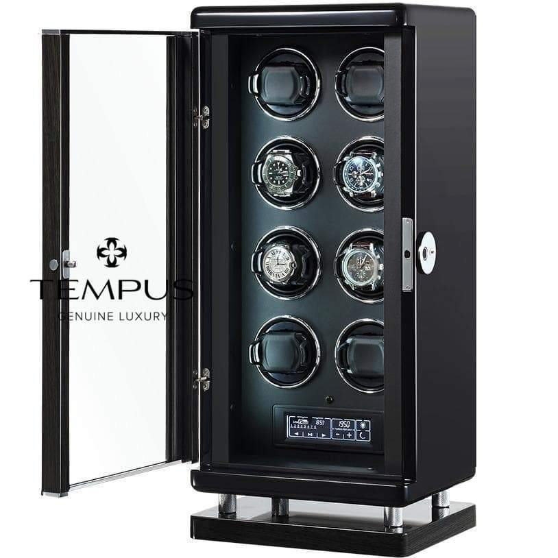 Tempus Watch Winder for 8 Watches Piano Black Finish with Finger Print Access