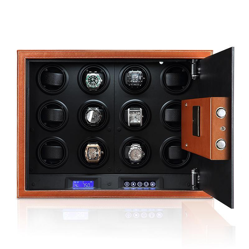 Tempus Safe Watch Winder for 12 Watches in Brown Genuine Leather