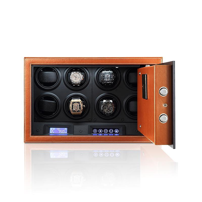 Tempus Safe Watch Winder for 8 Watches in Brown Genuine Leather