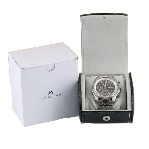 Black Croc Skin Faux Leather Watch Travel Case by Aevitas