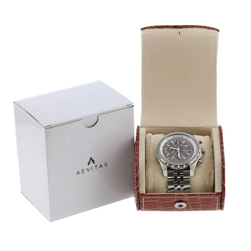 Brown Croc Skin Faux Leather Watch Travel Case by Aevitas