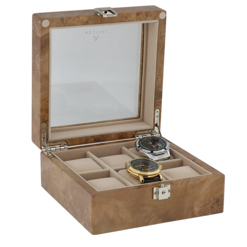 Light Burl Walnut Wood Watch Collectors Box for 6 Watches by Aevitas
