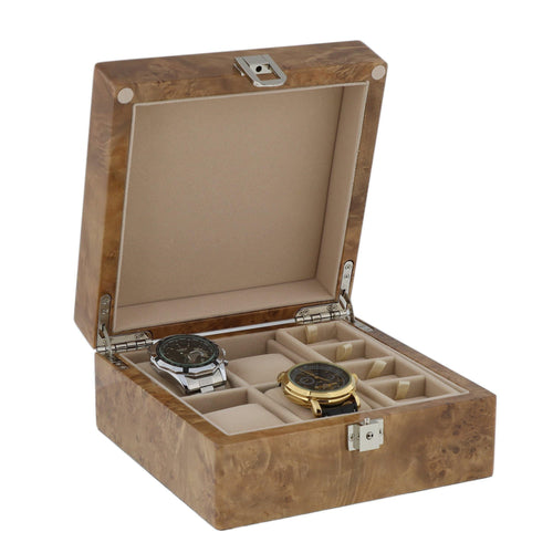 Light Burl Walnut Solid Top Watch Collectors Box for 4 Watches Plus 8 Pair Cufflinks by Aevitas