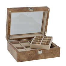 Load image into Gallery viewer, Light Burl Walnut Wood Collectors Box for 4 Watches and 16 Pair Cufflinks by Aevitas