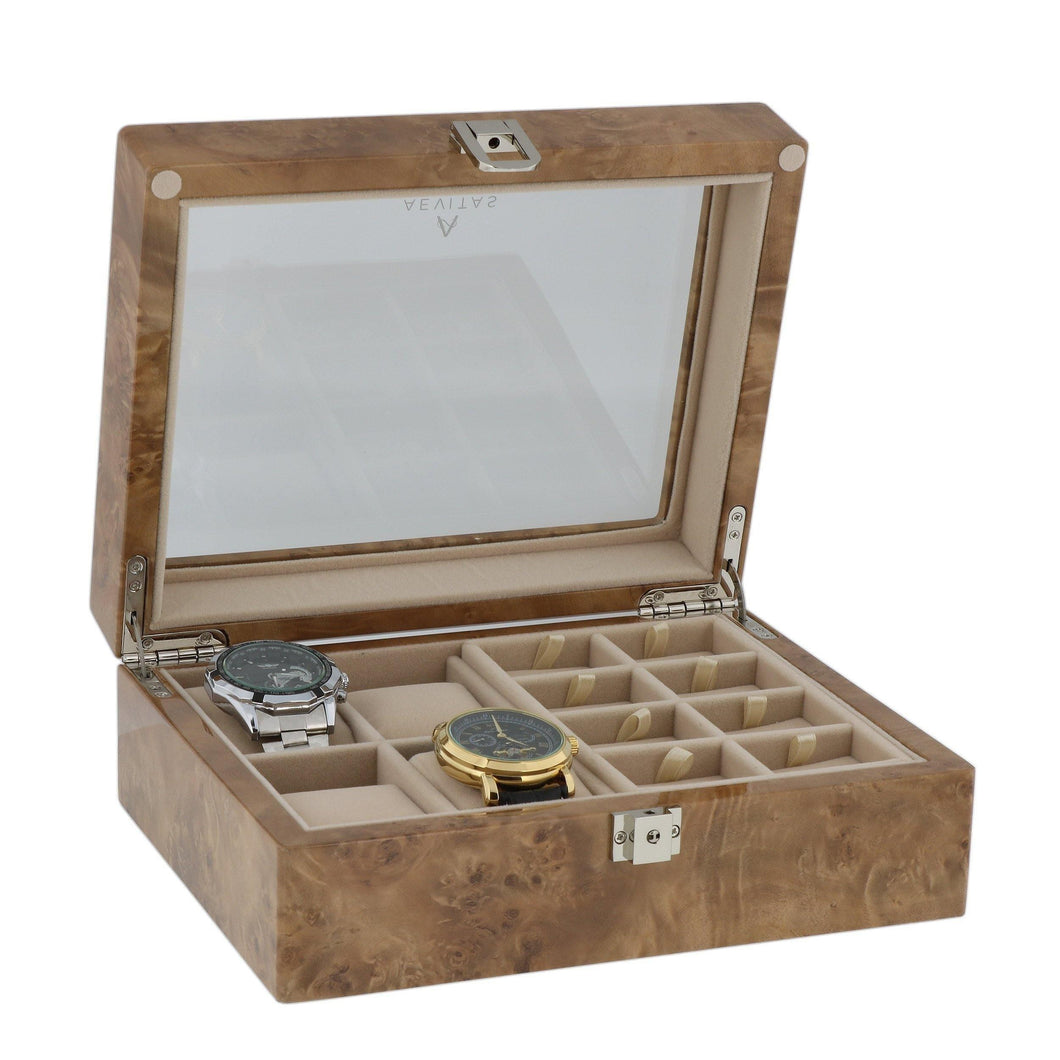 Light Burl Walnut Wood Collectors Box for 4 Watches and 16 Pair Cufflinks by Aevitas