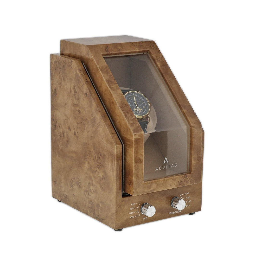 Premier Light Burl Walnut Wood Single Watch Winder for Automatic Watches by Aevitas