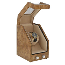 Load image into Gallery viewer, Premier Light Burl Walnut Wood Single Watch Winder for Automatic Watches by Aevitas
