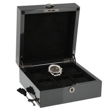 Load image into Gallery viewer, Premium Quality Carbon Fibre Watch Collectors Box for 6 Watches with Solid Lid by Aevitas