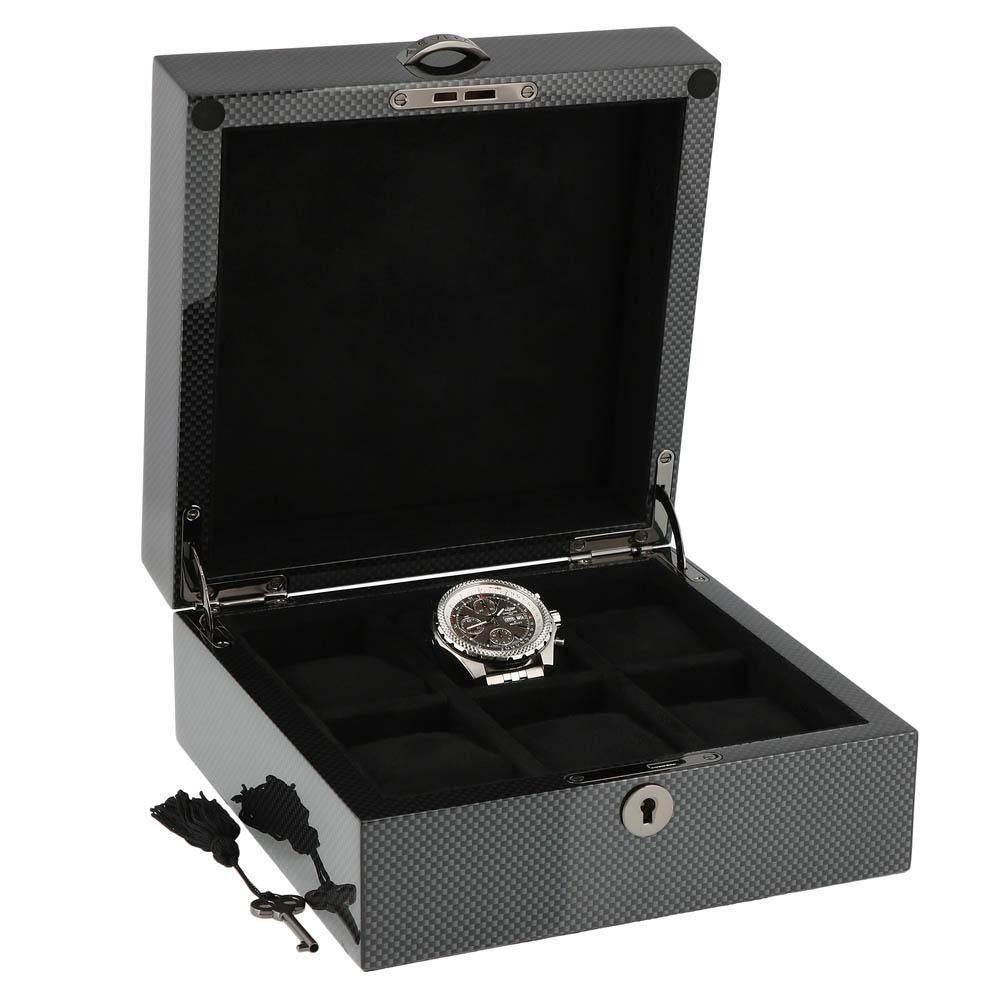 Premium Quality Carbon Fibre Watch Collectors Box for 6 Watches with Solid Lid by Aevitas