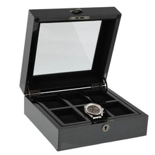 Load image into Gallery viewer, Premium Quality Carbon Fibre Watch Collectors Box for 6 Watches by Aevitas