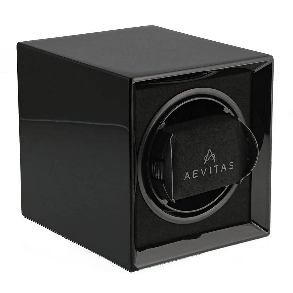 Compact Watch Winder for 1 Watch Piano Black finish with Rechargeable Battery by Aevitas