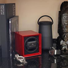 Load image into Gallery viewer, Watch Winder for 1 Automatic Watch in Claret Red Mains or Battery by Aevitas