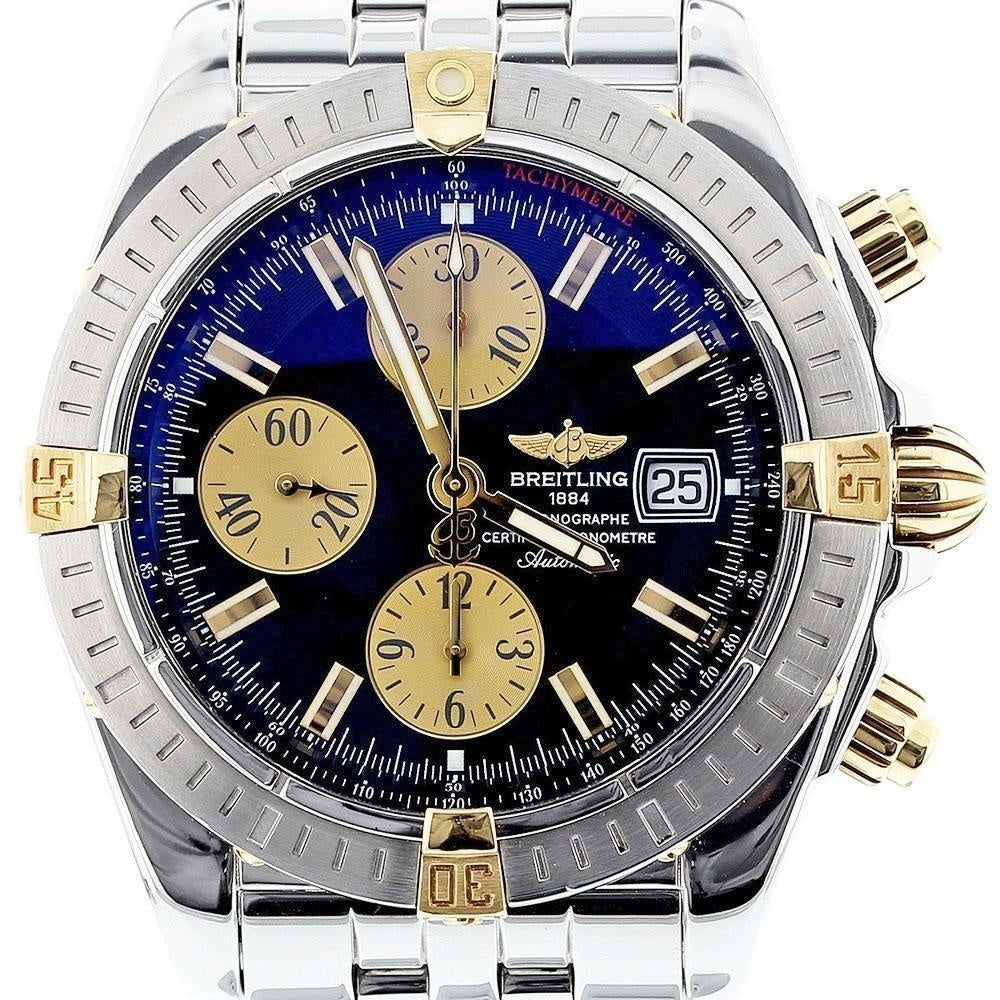 Breitling Chromomat Evolution 18K Gold and Stainless Steel B13356 Black Dial