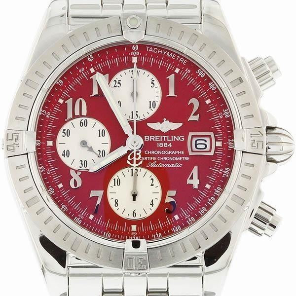 Breitling Chronomat Evolution Stainless Steel with Red Numeral Dial A13356