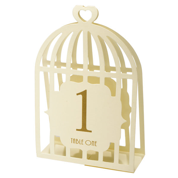 Ivory Bird Cage Table Numbers 15pk
