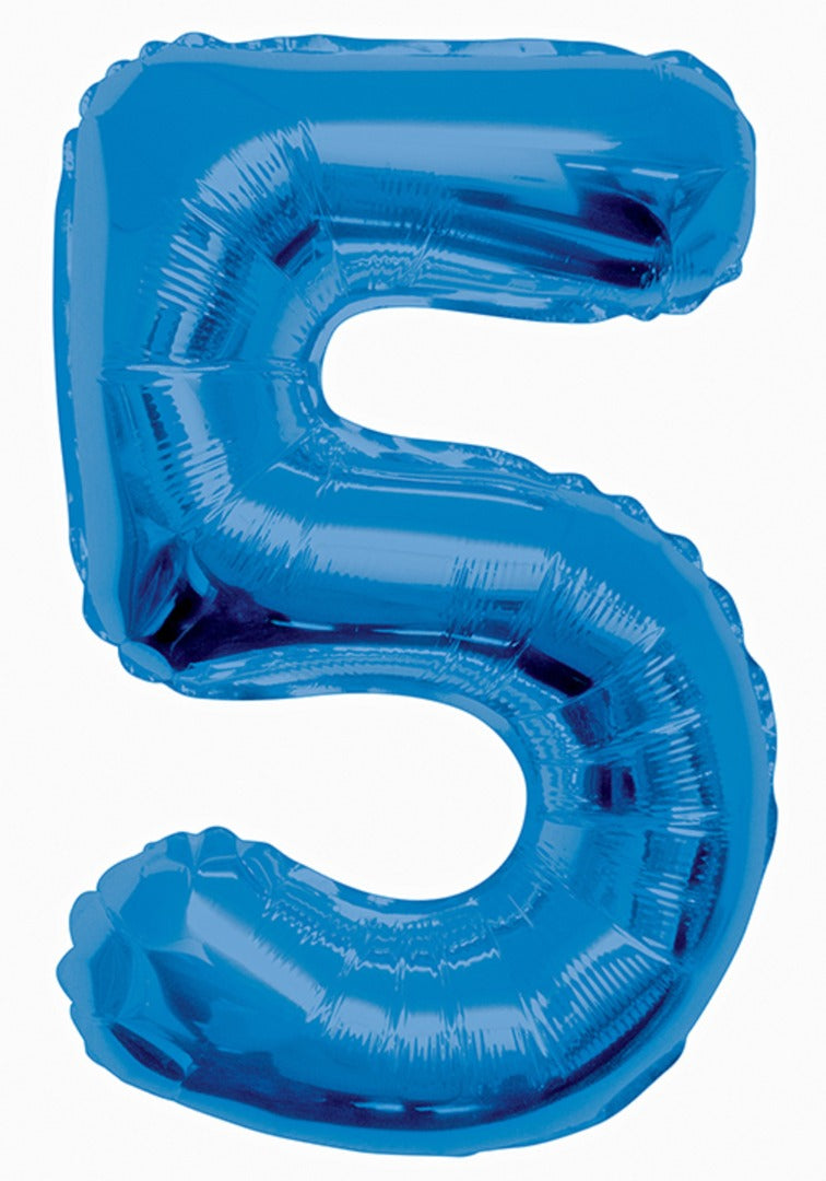 Giant Blue Foil Number '5' Balloon