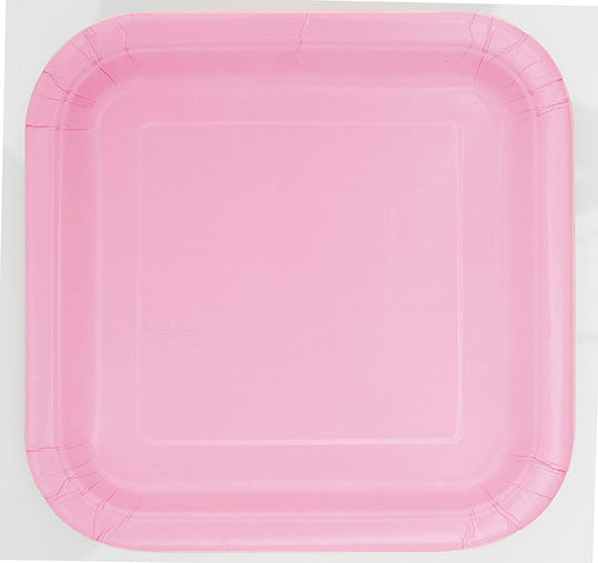 Soft Pink Square Paper Party Side Plates 16pk