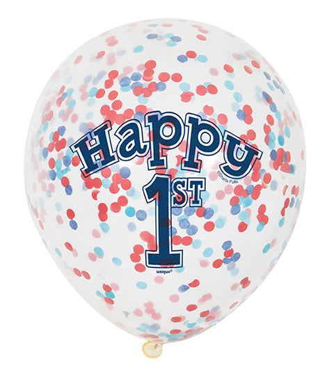 1st Birthday Red & Blue Confetti Balloons 6pk