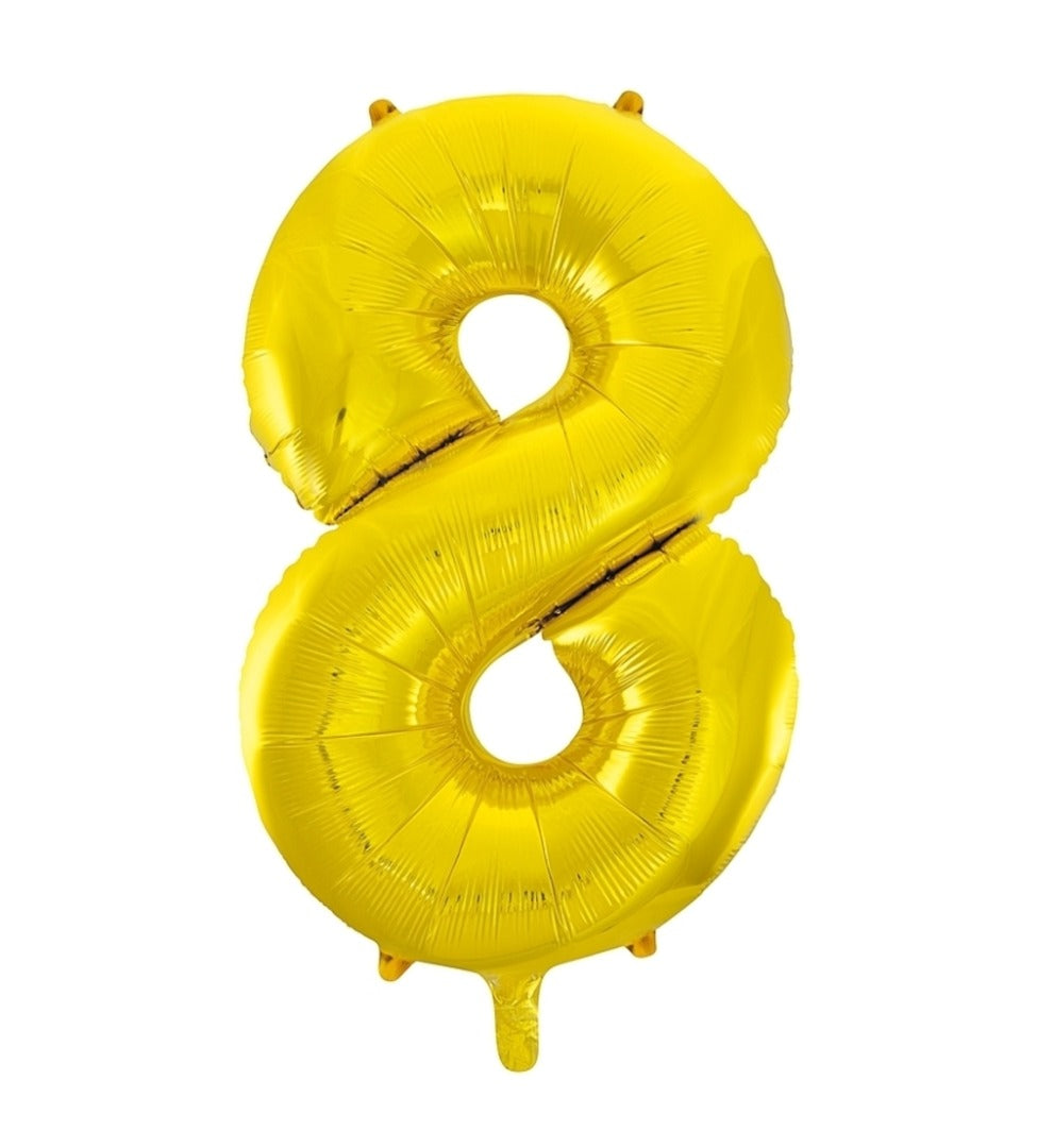 Giant Gold Foil Number '8' Balloon