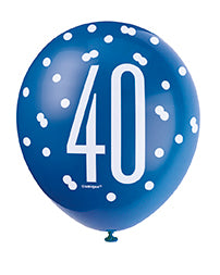 Blue Glitz 40th Birthday Latex Balloons 6pk