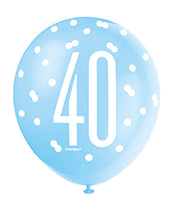 Load image into Gallery viewer, Blue Glitz 40th Birthday Latex Balloons 6pk