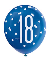 Load image into Gallery viewer, Blue Glitz 18th Birthday Latex Balloons 6pk