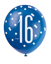 Load image into Gallery viewer, Blue Glitz 16th Birthday Latex Balloons 6pk