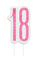 Load image into Gallery viewer, Pink Glitter Number 18 Candle