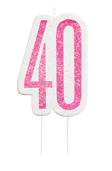 Pink Glitter Number 40 Candle