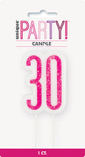 Load image into Gallery viewer, Pink Glitter Number 30 Candle