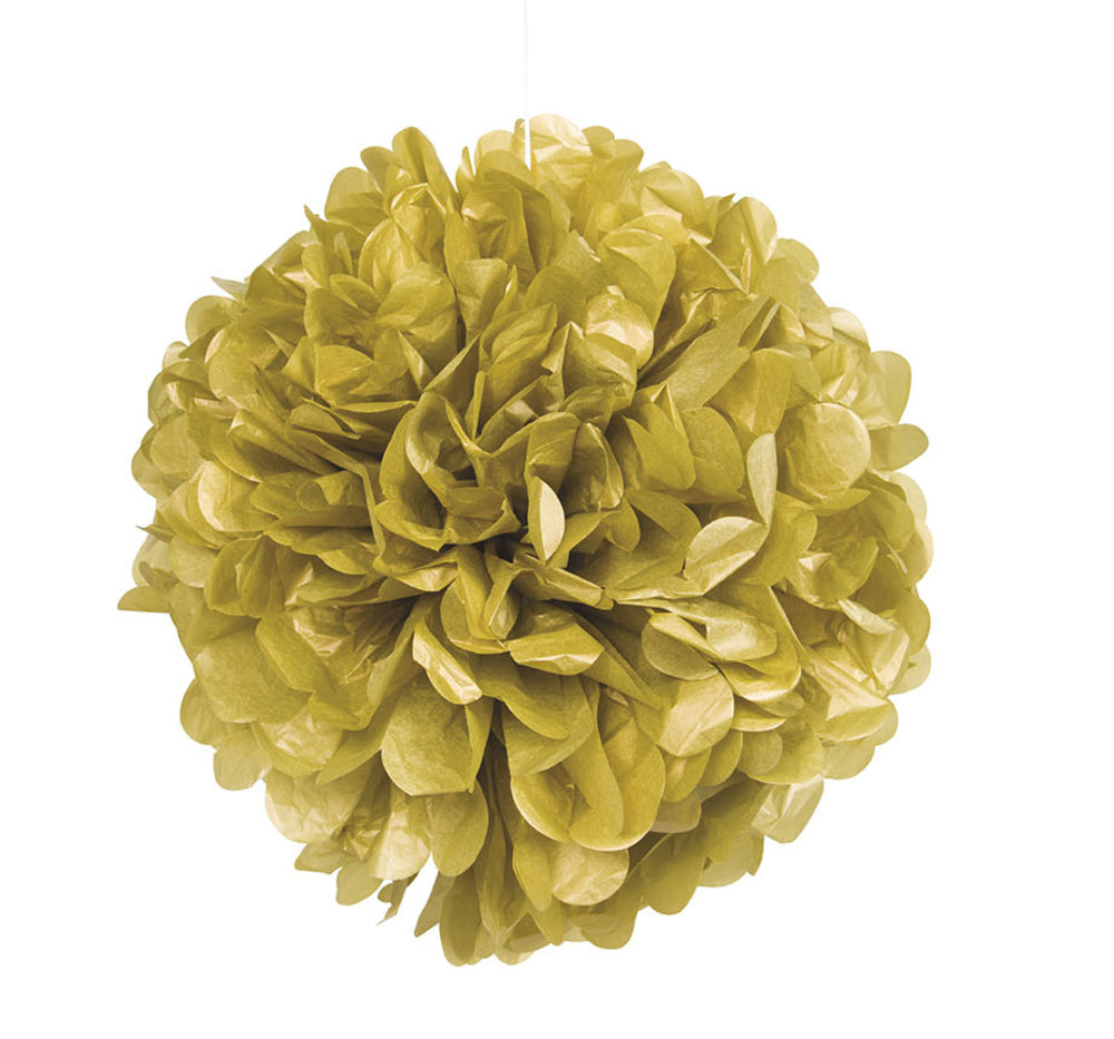 Gold Pom Pom Paper Decoration