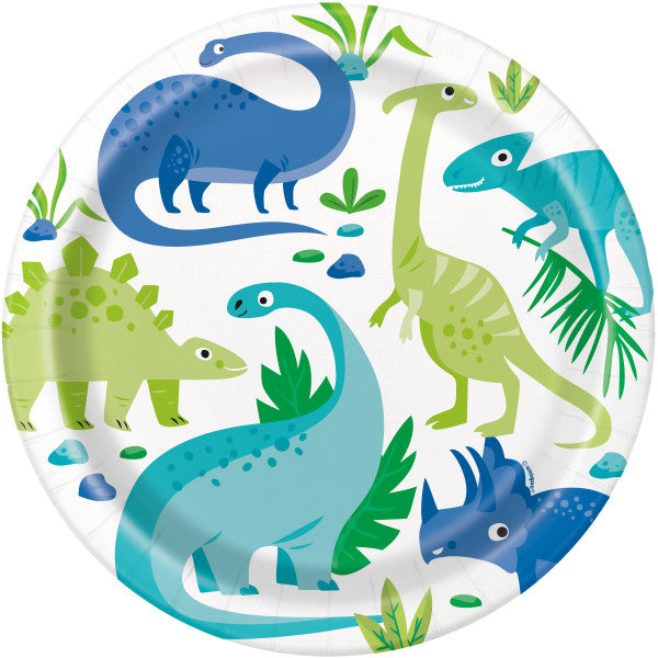 Dinosaur Paper Party Plates (22cm) 8pk