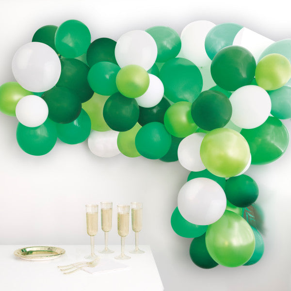 Green and White Balloon Arch