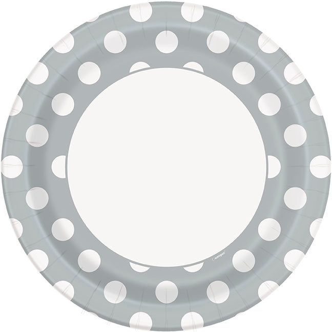 Silver Polka Dot Paper Party Plates 8pk