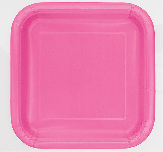 Hot Pink Square Paper Party Side Plates 16pk