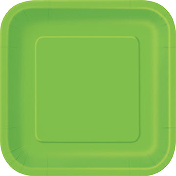 Lime Green Square Paper Party Side Plates 16pk