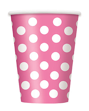Hot Pink Polka Dot Paper Party Cups 12oz 6pk