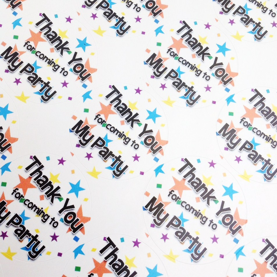 35 x Thank You Star Sweet Cone and Party Bag Stickers