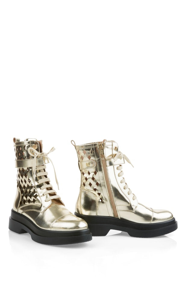 Metallic-Schnür-Boots mit Cut-Outs