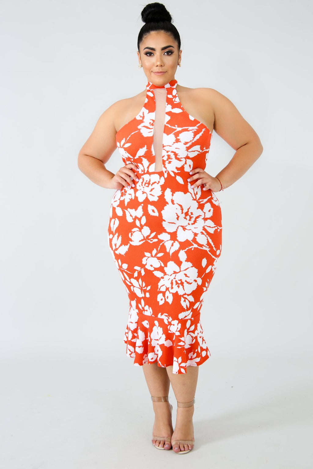 Orange Mermaid Midi Dress