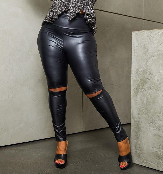 Knee Ripped Faux Leather Leggings Plus