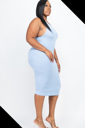 Feeling D Bluish Midi Dress Plus